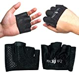 Nano Hertz Weight-Lifting Crossfit Workout Fitness Gloves | Callus-Guard Gym Barehand Grips Accessories | Support Cross-Training, Rowing, Power-Lifting, Pull Up for Men & Women (Black, Medium)