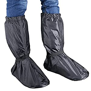 Hilitchi Men Black Waterproof Rainstorm Rainy Day Rain suit Raingear Motorcycle Outdoor Protective Gear Rain Boot Shoe Cover Zipper US 10-11 / Euro 44-45 (Black, US10-11/Euro44-45)