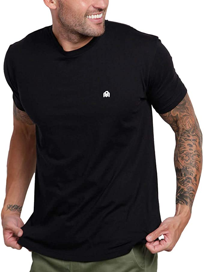 INTO THE AM Men's Crew Neck T-Shirts - Premium Fitted Modern Basic Logo Tees   Amazon