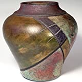 Raku Vase with Multicolor Glaze by Laura Kastin