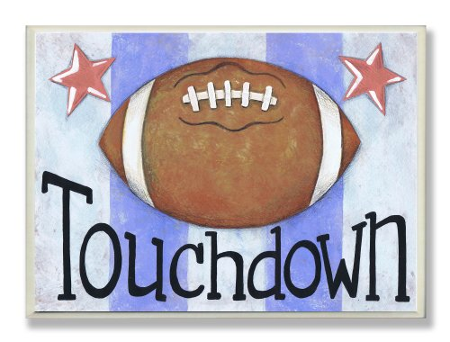 The Kids Room by Stupell Touchdown Football With Blue Stripes Rectangle Wall Plaque, 11 x 0.5 x 15, Proudly Made in USA
