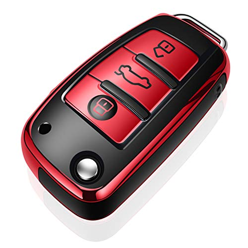 Tukellen for Audi Key Fob Cover Case,Premium Soft TPU 360 Degree Full Protection Key Shell Key Case Cover Compatible with Audi A1 A3 Q3 Q7 R8 A6L TT (only for Flip Key 3 Buttons)-Red