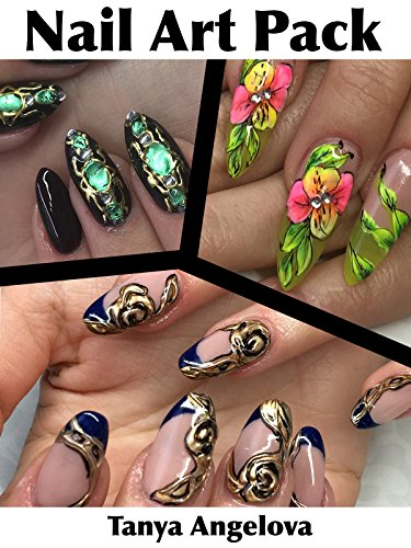 Nail Art Pack: Floristic Designs, 3D Golden Rose and Liquid Stone Decorations by