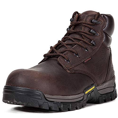 ROCKROOSTER Work Boots for Men, Composite Toe,Waterproof, Kevlar Puncture, Safety Shoes,Ventilated, Perfect Breathable, EEE-Wide (AT697Pro DB 10.5 AM) Dark Brown ()