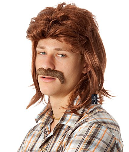 ALLAURA 80's Brown Mullet Wig for Men Funny Redneck 80s Costume Wigs American Accessories -