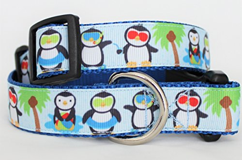 "Beach Biscuit Penguins in Paradise 1"" Dog Collar"