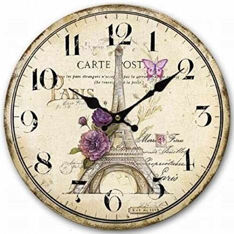 Relojes de pared Retro Vintage Sketch de la torre Eiffel Home decorativo reloj de pared relojes de pared de madera grande decorativo Vintage 34 cm: ...