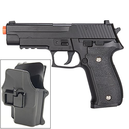Galaxy G26H Airsoft Metal 226 Spring Pistol with Quick Release Holster 280 (Jacketed Handgun Bullets)