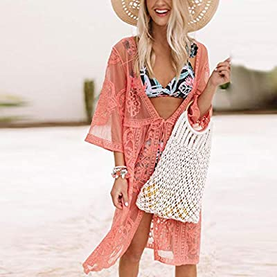 Women Casual Boho Beach Dresses Solid Lace Patchwork Holiday Split Maxi Dress