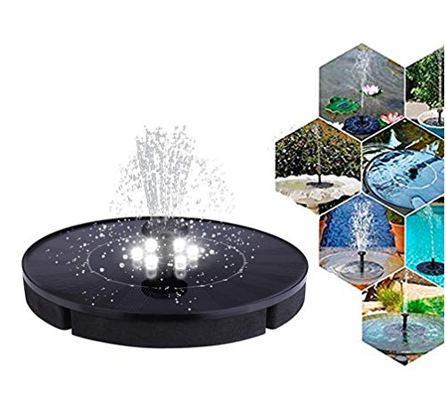 Solar Powered Fountain With lamp,Portable night light Water Fountain,Solar Powered Bird Bath Fountain Pump,Submersible Solar Water Pump Kit for Small Pond, Pool and Garden Decoration ()