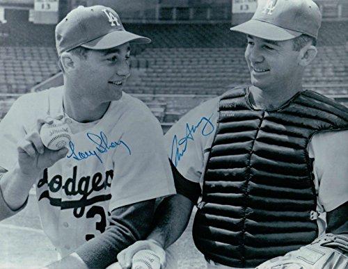 Larry & Norm Sherry Dual Signed 8X10 Photo Autograph Dodgers Thin Auto w/COA