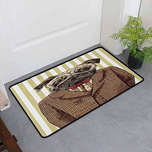ONECUTE Custom Doormat,Pug Hand Drawn Sketch of Smart Dressed Dog Jacket Shirt Bow Suit Striped Background,Customize Door mats for Home Mat,35