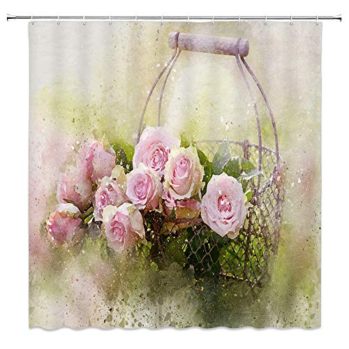 Rose Shower Curtain Decor Pink Flower Green Leaf Basket Oil Painting Romance Romantic Love Spring Creative Plant Decorative Bathroom Curtain Polyester Fabric Machine Washable with Hooks 70x70 Inches