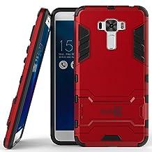 Zenfone 3 Laser Case, CoverON® [Shadow Armor Series] Hard Slim Hybrid Kickstand Phone Cover Case for Asus Zenfone 3 Laser ZC551KL - Red / Black