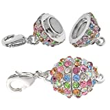 Beadelle Crystal 12mm Round Pave Magnetic Clasp Silver Pl. / Lt Multi Rainbow