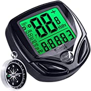 Water-Proof Bike Computer with Compass, MAXIN Wireless Bike Speedometer with Large LCD Display, Bicycle Odomet