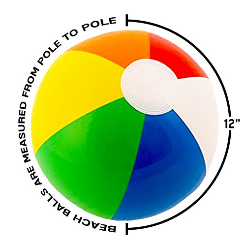 "12"" Rainbow Colored Party Pack Inflatable Beach Balls - Beach Pool Party Toys (12 Pack)"