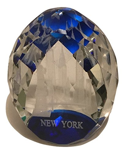 Blue Toned Egg Shaped 3D Laser Etched Statue of Liberty, Empire State Bldg with NYC Skyline Glass Crystal Paperweight, New York - See Nyc Glasses