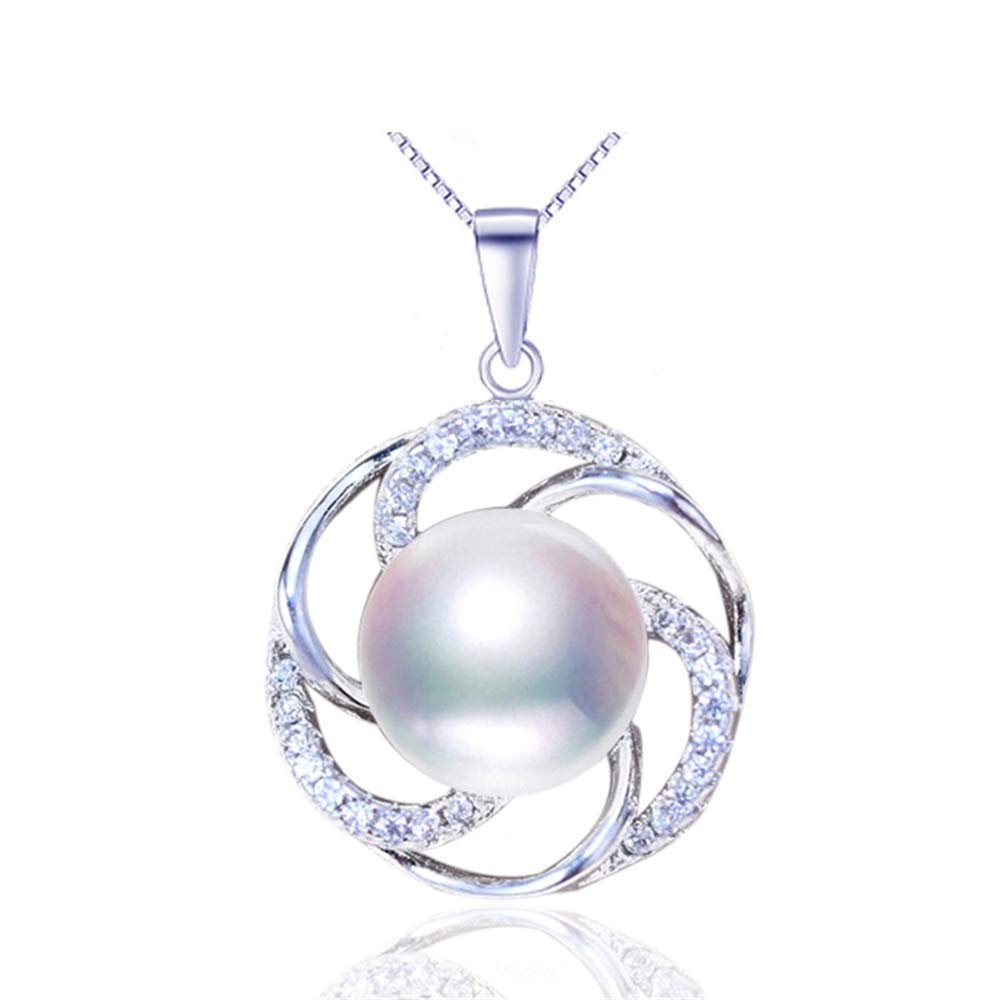 GLEENECKLAC Pearl Necklace Natural Freshwater Pearl Pendant Round 925 Sterling Silver For Woman Pearl Jewelry