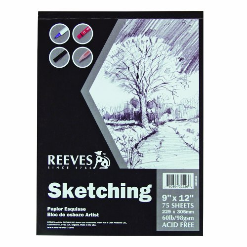 Reeves 9-Inch by 12-Inch Sketching Paper Pad, 75 sheets/Pack by Reeves
