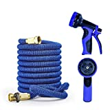 Yamoo Hose - 75ft Flexible Expandable Water Garden Hose All Brass Connectors, 9-Way Spray Nozzle, Wall Mount Free Storage Bag
