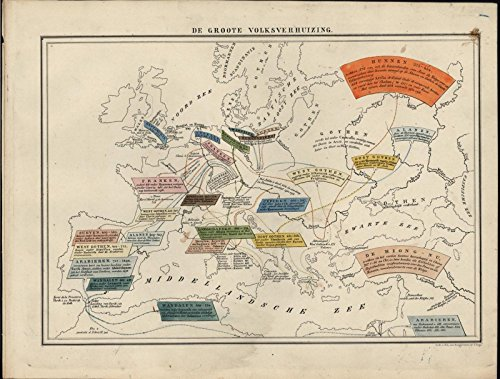Ethnic Groups Europe Lombard Goth Frank c.1870 antique hand color lithograph map