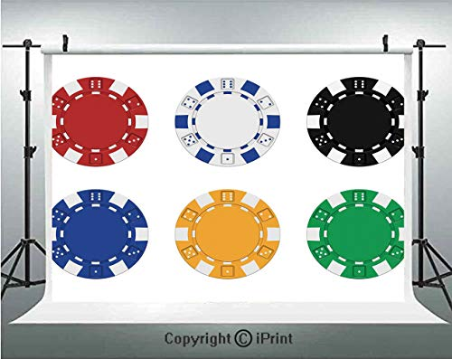Poker Tournament Decorations Photography Backdrops Collection of Colored Casino Chips Realistic Tokens Set Image Decorative,Birthday Party Background Customized Microfiber Photo Studio Props,8x8ft,Mul ()