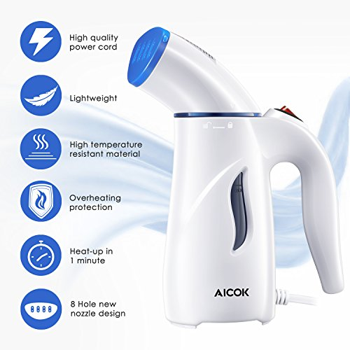 Clothes Steamer, Aicok Travel Garment Steamer, 4-in-1 Fabric Steamer, Powerful Wrinkle Remover for Clothes Ironing, Cleaning, Sterilization and Fabric Soften by AICOK (Image #1)
