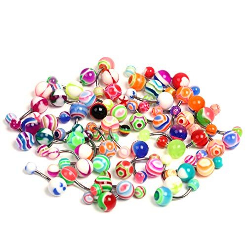 CrazyPiercing Wholesale Lot of 50pcs Belly Navel Button Rings Bar Barbells Ball Acrylic Steel