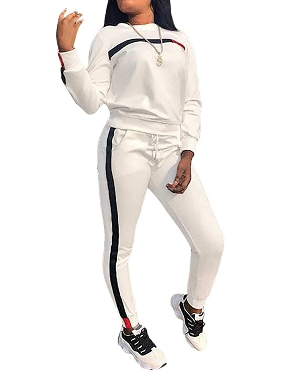 KANSOON Women Stripe Patchwork Two Piece Sweatsuit Round Neck Pullover and Skinny Long Pants