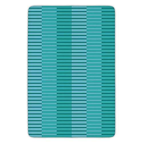 Fandidian Bathroom Bath Rug Kitchen Floor Mat Carpet,Abstract Decor,Abstract Stripes Pattern Digital Image in, Light Blue Kelly Green,Flannel Microfiber Non-Slip Soft Absorbent