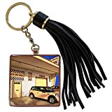 3dRose Chris Lord Automobilia - Yellow Garage Mini Cooper - Tassel Key Chain (tkc_55967_1)