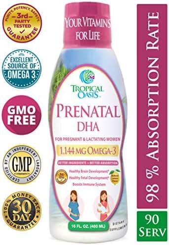 MAX Potency Liquid Prenatal DHA Supplement w/ 1144mg Omega-3 Fish Oil, 550mg EPA, 510mg DHA - Plus Vitamin A & Vitamin D for Healthy Brain & Fetal Development in Pregnant & Lactating Women - 90 Serv