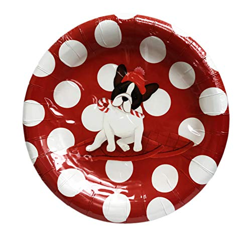 Pooch & Sweetheart French Bulldog Holding Candy Cane on Polka Dot Set of 16 Red Novelty Holiday Appetizer Dinner Dessert Party Paper Plates
