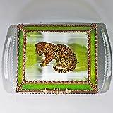 Leopard, Big Cats, Africa, Stained Glass Jewelry Box, Presentation Box, Keepsake Box, Glass Jewels, Swarovski Crystals, USA Made