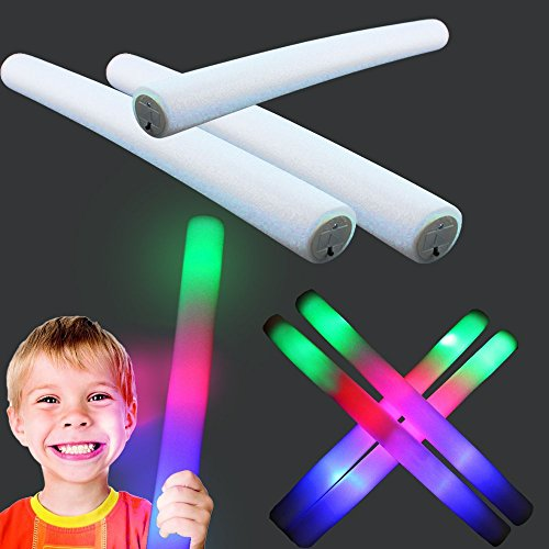 LED Multi Colored Foam Sticks - 18 inch 3 Color Flashing Baton Bar with 3 Changing Colors and Patterns - Light-UP Your Themed Party With This Blinking Wand!
