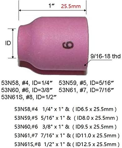 TIG Gas Lens Alumina Nozzle Ceramic Cup Kit 53N58#4 53N59#5 53N60#6 53N61#7 53N61S #8 Fit PTA DB SR WP 9 20 24 25 TIG Welding Torch 10pk