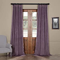 "52"" W x 96"" L (set of 2 Panels) Pinch Pleat 90% White Lining Blackout Velvet Solid Curtain Thermal Insulated Patio Door Curtain Panel Drape For Traverse Rod and Track, Fresh Violet Curtain"