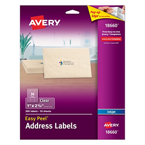 avery-easy-peel-mailing-labels-for-ink-jet-printers-1-x-2-5-8-inches-clear-pack-of-300-18660