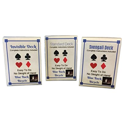 London Magic Works 3 Deck Combo- Blue Back Invisible, Svengali, and Standard Decks Playing Cards Trick Kit: Toys & Games