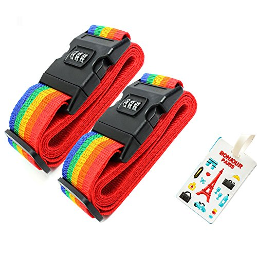 2pack package,Luggage Strap Cross Belt Packing Adjustable Travel Suitcase Nylon 3 Digits Password Lock Buckle Strap Baggage Belts by moon-1