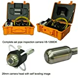 20M cable self-levelling drain pipe sewer pipeline inspection camera with SD card, DVR, 8'' monitor