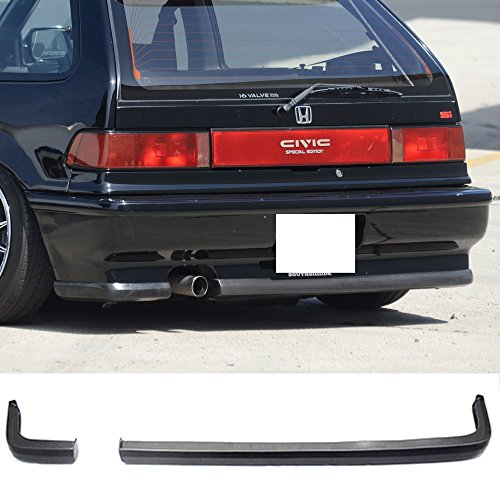 Rear Bumper Lip Fits 1988-1991 Honda Civic | Black PU Rear Lip Finisher Under Chin Spoiler Underspoiler Splitter Valance Underbody Bumper Fascia Add On by IKON MOTORSPORTS | 1989 1990 ()