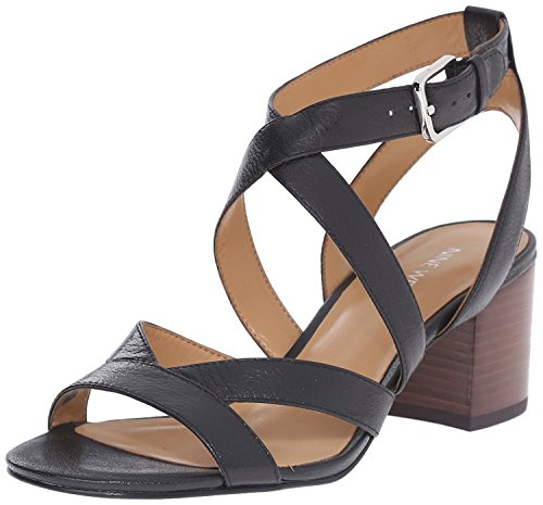 Nine West Women's Greentea Leather Heeled Sandal, Black, 36.5 B(M) EU/4.5 B(M) UK