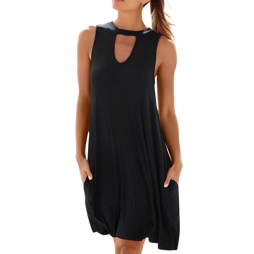 Euone Dress Clearance, Summer Women Sleeveless Beach Dress With Pocket Short Dress