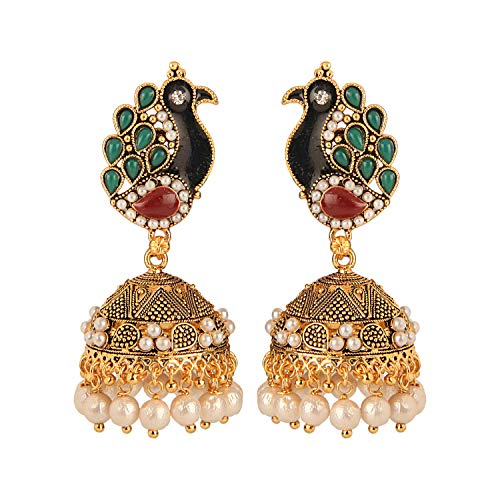 Efulgenz Boho Vintage Antique Ethnic Gypsy Tribal Indian Oxidized Gold Pearl Tassel Peacock Jhumka Dangle Earrings Jewelry
