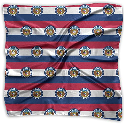 Women Vintage Missouri Flag Pattern Print Square Handkerchiefs Bandanas Head & Neck Tie Scarf S