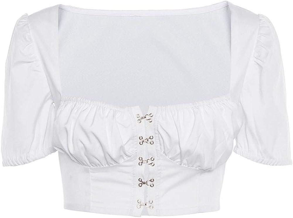 Victorian style Dirndl Blouse Crop Blouse folk blouse festival top Octoberfest Blouse Victorian top Renaissance Blouse Dirndl Crop Top White
