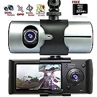 Indigi HD Car DVR Dual Camera Lens DashCam GPS Tracker G-Sensor Free 32GB microSD BONUS