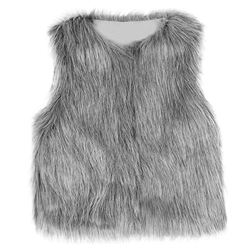 Winsummer Toddler Baby Girls Snowsuit Jacket Winter Warm Faux Fur Waistcoat Clothes Padded Vest Coats for Girl (Gray, 5-6T)]()